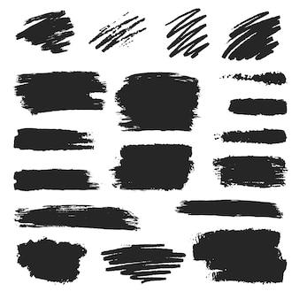 Zwarte inktpotlood en penseelstreek set, uitstrijkje collectie, grunge effect