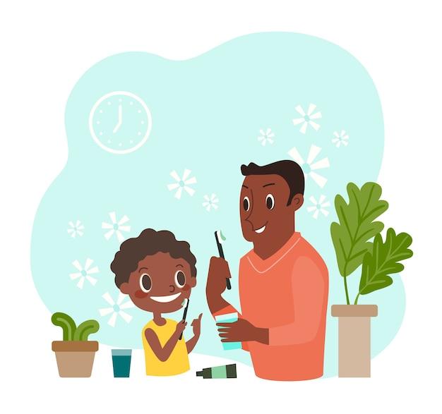 Zwarte jongen en zijn vader die hun tanden poetsen. tandheelkundige en orthodontische dagelijkse leven illustratie.