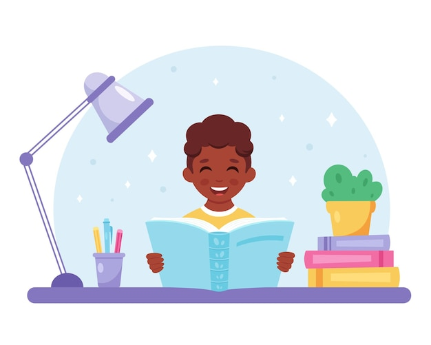 Zwarte jongen leesboek jongen studeert met een boek