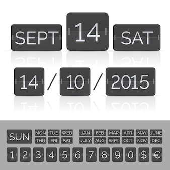 Zwarte kalender met timer en scorebordnummers.