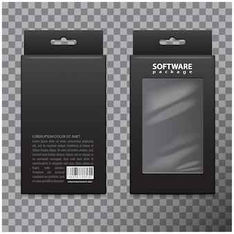 Zwarte kartonnen box set. realistick-pakket voor software, elektronisch apparaat en andere producten
