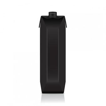 Zwarte kartonnen verpakking voor sap, melk. pakket sjabloon