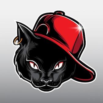 Zwarte kat cartoon