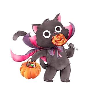 Zwarte kat die snoepjes happy halloween eet