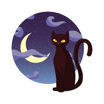 Zwarte kat gelukkig halloween feest