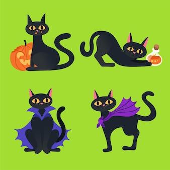 Zwarte kat halloween collectie illustratie