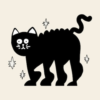 Zwarte kat halloween sticker vector, hand getrokken doodle