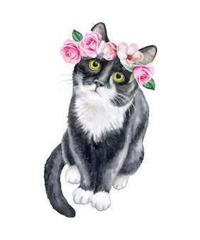 Zwarte kat in een bloemkroon. kroon met rozen. waterverf