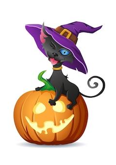 Zwarte kat in heksenhoed zit op halloween-pompoen en toont tongvectorillustratie voor halloween