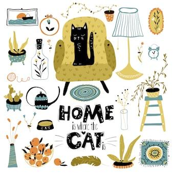 Zwarte kat in het appartement. kleurrijke moderne illustratie in eenvoudige handgetekende stijl. belettering - thuis is waar uw kat is