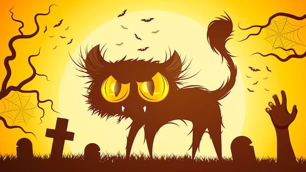 Zwarte kat in het midden van een begraafplaats
