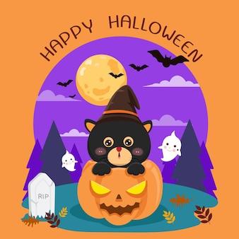 Zwarte kat in pompoen op halloween