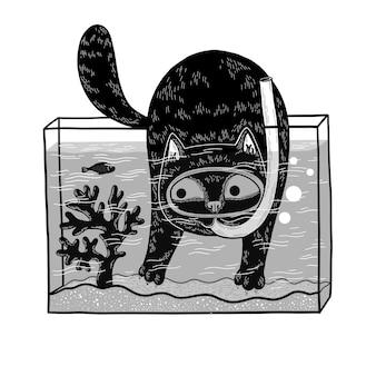 Zwarte kat met duikmasker duikt in het aquarium om een vis te vangen leuke stripfiguur