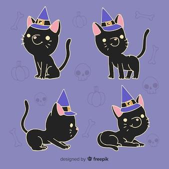Zwarte kat met hand getrokken heks hoed