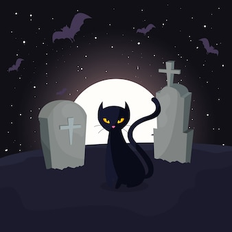 Zwarte kat met maan in begraafplaatsscène