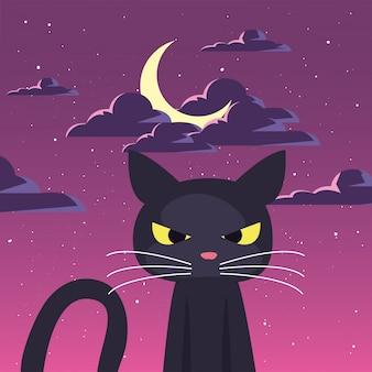 Zwarte kat met maan in scène van halloween