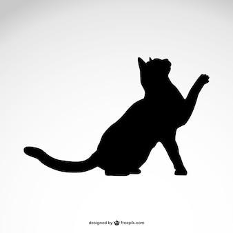 Zwarte kat silhouet vrije vector