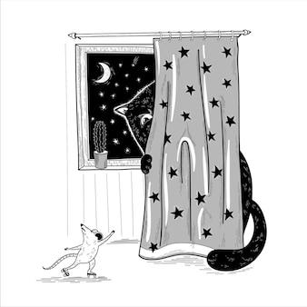 Zwarte kat verstopt zich achter een gordijn en betrapt een muis die op rolschaatsen rijdt