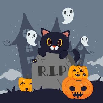 Zwarte kat vult de grafsteen een beetje geest en schaduw van het kasteel.