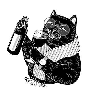 Zwarte kattensommelier met fles en glas wijn stijlvol karakter doodle illustratie