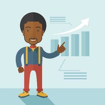 Zwarte kerel die bedrijfverkoop bekijkt.