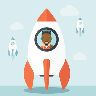 Zwarte kerel in online opstarten van bedrijven