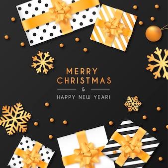 Zwarte kerst achtergrond met cadeautjes en ornamenten