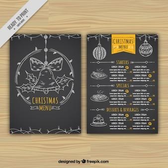 Zwarte kerst menu met de hand getekende elementen