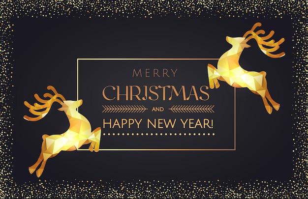 Zwarte kerstaffiche gouden glitter en gouden driehoek effect herten elementen met frame.