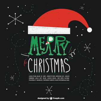 Zwarte kerstkaart met de hoed van de kerstman van