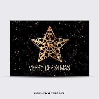 Zwarte kerstkaart met q gouden ster