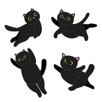 Zwarte kittens zwarte katten vliegen en dansen set van zwarte katten voorraad vectorillustratie op een witte