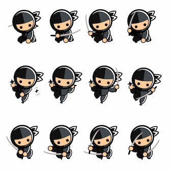 Zwarte kleine cartoon ninja actieset
