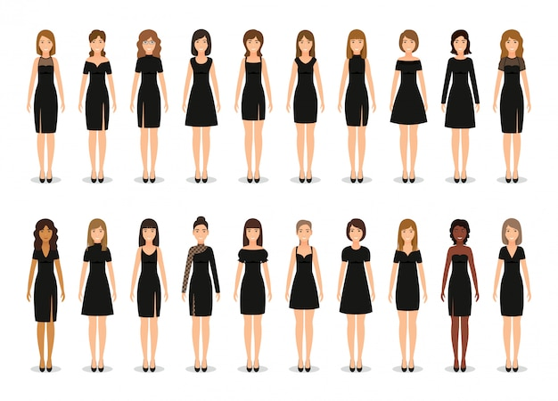 Zwarte kleine jurk voor vrouwen. set van elegante cocktailjurken. . collectie kleding. silhouette kleding. kleren pictogram voor meisjes geïsoleerd op een witte achtergrond. vlakke afbeelding.