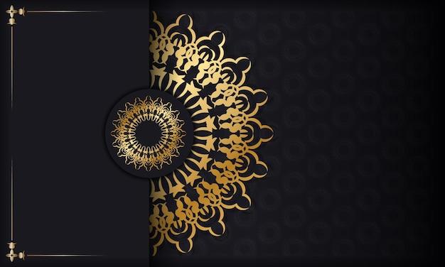 Zwarte kleur achtergrond met gouden abstracte ornament