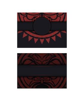 Zwarte kleur ansichtkaart ontwerp met masker van de goden. ontwerp van de uitnodiging met een plaats voor uw tekst en een gezicht in de polizeniaanse stijl.
