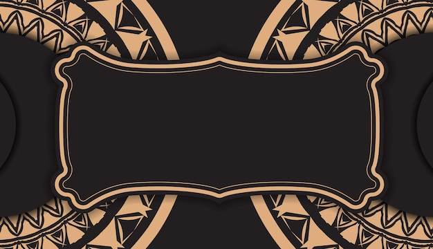 Zwarte kleur brochure sjabloon met bruin indisch patroon