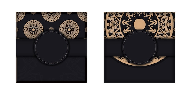Zwarte kleur brochure sjabloon met bruin luxe ornament