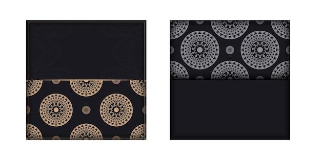 Zwarte kleur brochure sjabloon met bruin luxe patroon