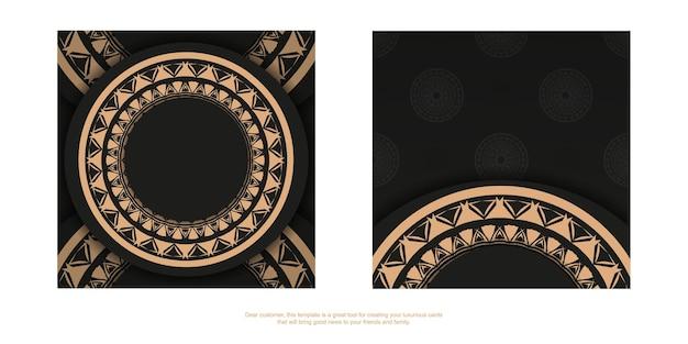 Zwarte kleur brochure sjabloon met bruin mandala ornament