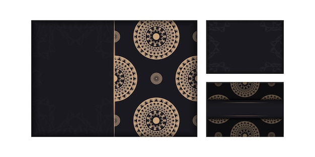 Zwarte kleur brochure sjabloon met bruin vintage patroon