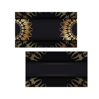 Zwarte kleur brochure sjabloon met gouden vintage patroon