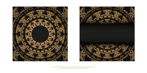 Zwarte kleur flyer met bruin luxe patroon
