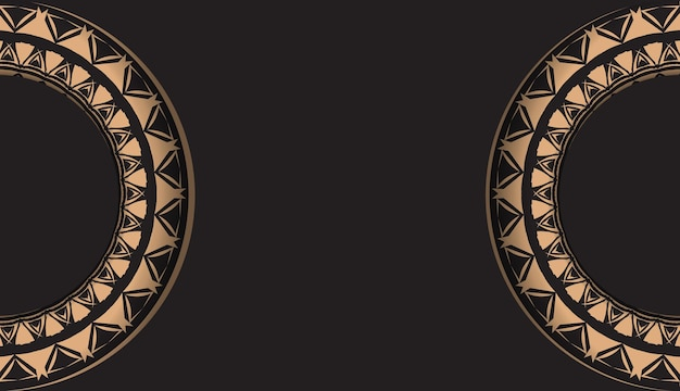 Zwarte kleur folder sjabloon met bruin luxe ornament