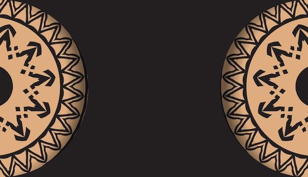 Zwarte kleur folder sjabloon met bruin luxe patroon