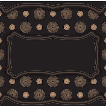 Zwarte kleur folder sjabloon met bruin vintage ornament