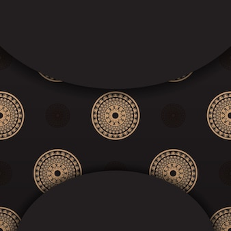 Zwarte kleur folder sjabloon met bruin vintage patroon