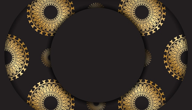 Zwarte kleur folder sjabloon met gouden abstracte ornament