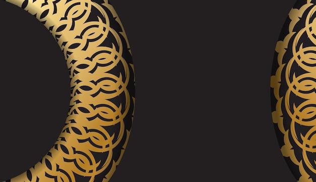 Zwarte kleur folder sjabloon met gouden griekse patroon