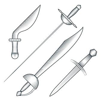 Zwarte kleur middeleeuwse piraat zwaard dolk dirk gravure stijl illustratie set witte achtergrond